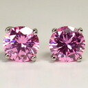 Maiden color of glittering ♪ Pink CZ single earring (8 mm, Titan post )