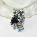 Owl holding accent ♪ pin broach (CZ with a broach smartly shiningly, black)
