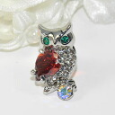 Owl holding accent ♪ pin broach (CZ with a broach smartly shiningly, red)