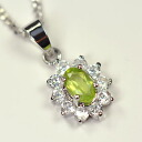 August birth stones Peridot use ♪ oval flower pendant