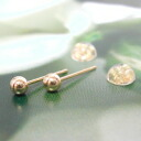 Product made in nickel-free Japan made in yellow gold-maru ball pierced earrings 3mm (one pair) K18