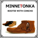 Minnetonka minnetonka BOOTIE WITH CONCHO コンチョフェザー boots サイドジップ lace-up shoes suede leather ankle boots 520 522 527 CONCHO FEATHER Minnetonka dealer