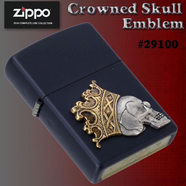zippo(¿¿¿¿¿¿¿¿)Crowned Skull Emblem #29100 Black Matte ¿¿2