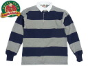 바바리 안 BARBARIAN 클래식 럭비 셔츠 4 인치보다옥스그레이/네이비(긴소매 CLASSIC RUGBY SHIRT)