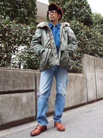 2013年12月11日 スタジャン×ミリタリー個性派コーデ 着こなし コーデ スナップ 古着