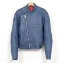 Semi-double leatherette jacket Ron Jean UK riders ♪ 70'S semi-double blue leather riders JKT/ size M/wea5375 ♪ #140329