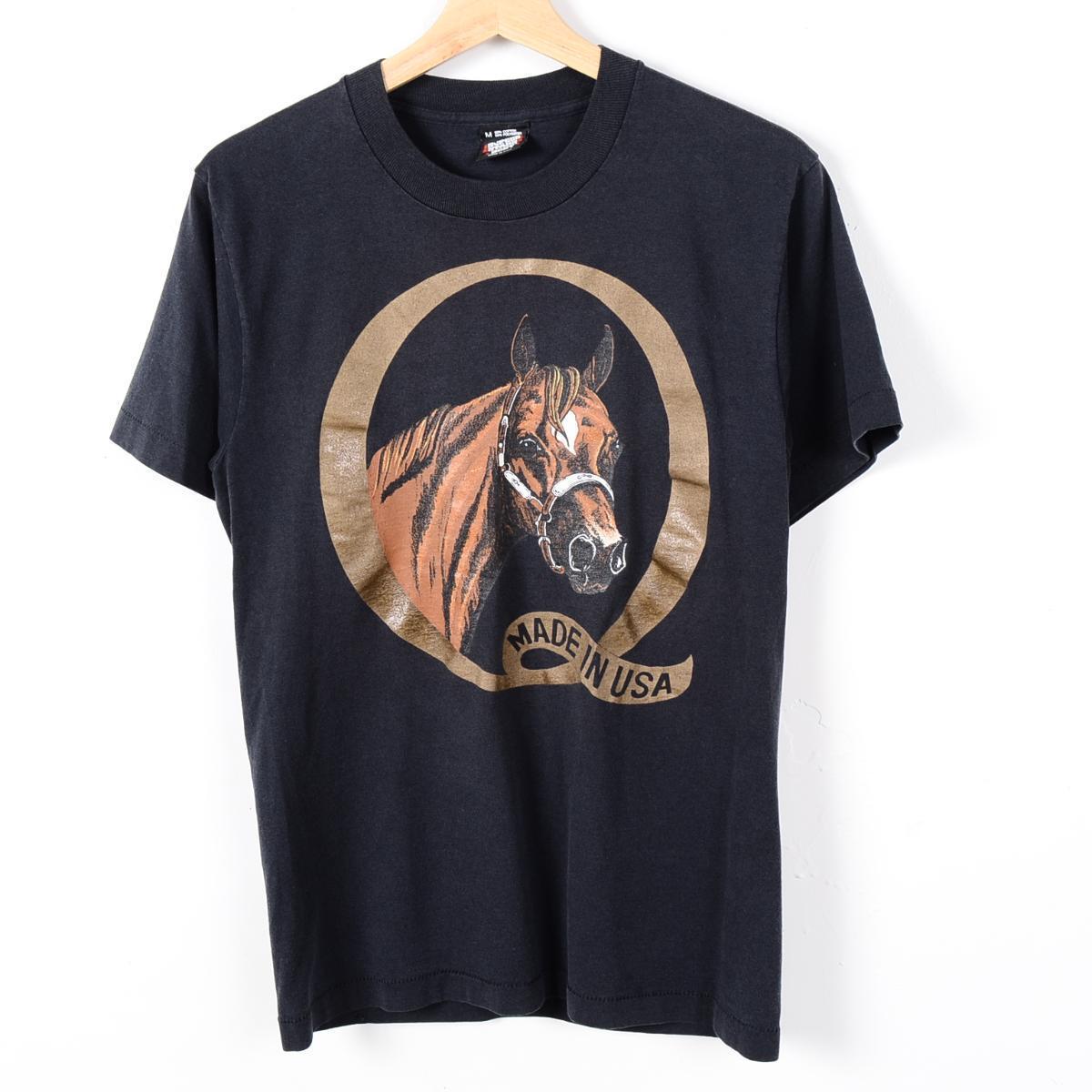 90年代 USA製 馬柄 アニマルプリントTシャツ メンズS SCREEN STARS BEST /wer0736 【古着屋JAM】【中古】 160514