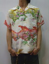 Houston houston4624 silk 100% small rabbits and flowers and Butterfly print short sleeve Aloha limited production points 05P13sep13 rest