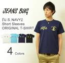 """U. S. NAVY' JEANSBUG ORIGINAL PRINT T-SHIRT オリジナルユーエスネイビー military print short sleeve T Shirt American naval military USN"