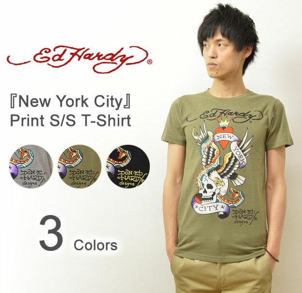 Ed Hardy(エドハーディー) 『New York City』 半袖Tシャツ ヴィンテージタトゥーデザイン コットン素材 半袖カットソー ロゴ スカル イーグル 蛇 ニューヨークシティー 【EDT004】
