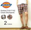 Dickies ( Dickies ) Check Shortpants hemp blend material check pattern shorts knee-length Chopin shorts work pants Chino