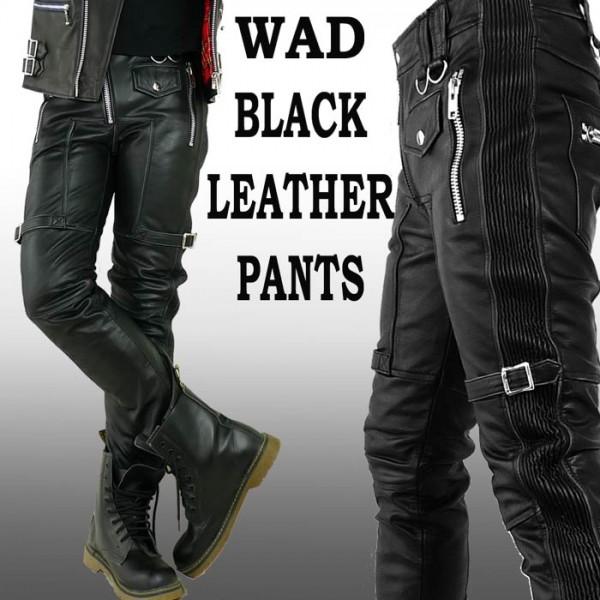 WAD ブラック レザーパンツ バイカー パンツ スキニー/ブラック レザー パンツ 革...