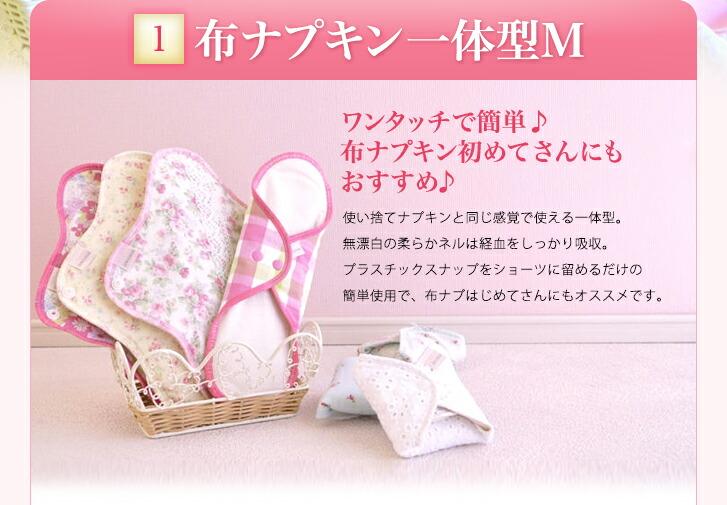 布ナプキン一体型M ワンタッチで簡単 布ナプキン初めてさんのオススメ 使い捨てナプキンと同じ感覚 無漂白の柔らかネル 簡単使用