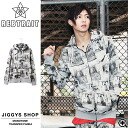◆Men zip parka parka long sleeves parka zip たけぞー brand skater skateboard fashion Men's samurai ELO smart of REBTRAIT( レブトレイト) monotone whole pattern transcription parka ◆ street American casual street origin is stylish