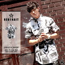 ◆It is spring and summer for men shirt short-sleeved casual shirt half-length sleeves 5 of REBTRAIT( レブトレイト) whole pattern print short sleeves shirt ◆ street American casual street origin in sleeve short sleeves shirt たけぞー brand skater skateboard fashion
