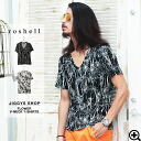 ◆It is a v neck black and white floral design flower resort handle of whole pattern in spring and summer in T-shirt short sleeves half sleeve cut-and-sew print half-length sleeves short sleeves T-shirt older brother system fashion older brother men fashi