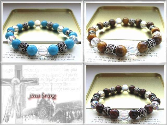 玛瑙, 绿松石及蒂奇 ■ 凯伦银珠子手链