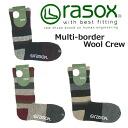-rasox la Sox multi-border wool crew socks CA122CR01 (gender unisex / socks and calf-length and fall-winter)