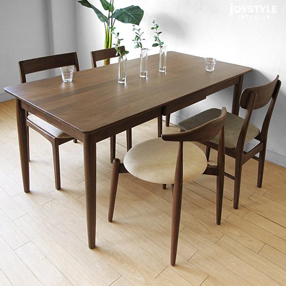 材胡桃木材制造抽屉附带的餐桌角丸天板的餐桌设定