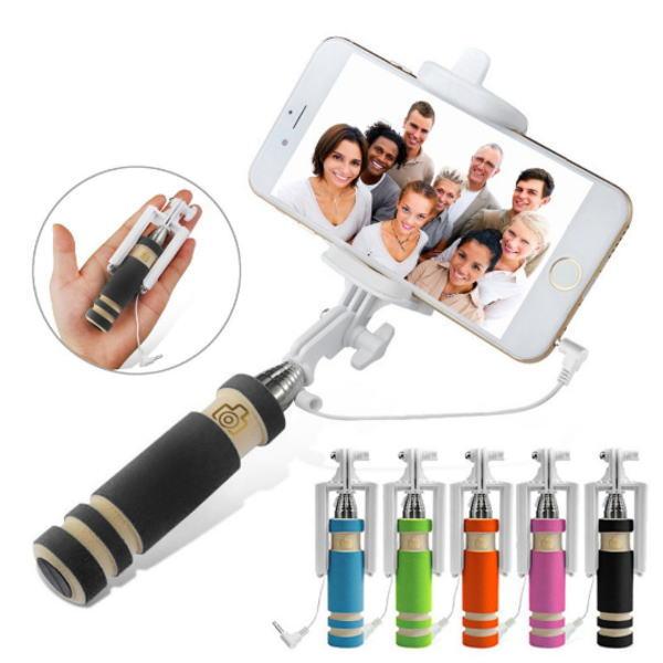 自撮り棒、自分撮り一脚ミニポール iPhone 6 6S / 5 5S用 伸縮自在 最長60cm シャッター付き 5色展開 メール便