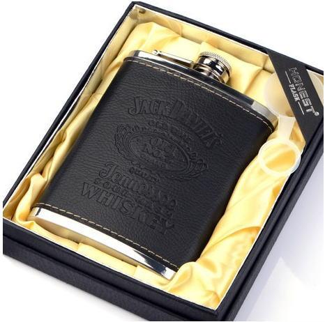 ジャックダニエル ポータブル 黒革 ヒップフラスコ 304高品質ステンレス 8オンス Jack Daniel's ヒップフラスコ【個別送料有】通常納期2週間~