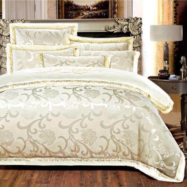 シルク調 ベッドカバー4点(シングル/3点)セット ユーロデザイン ジャガード豪華ゴールドカラー寝具セット