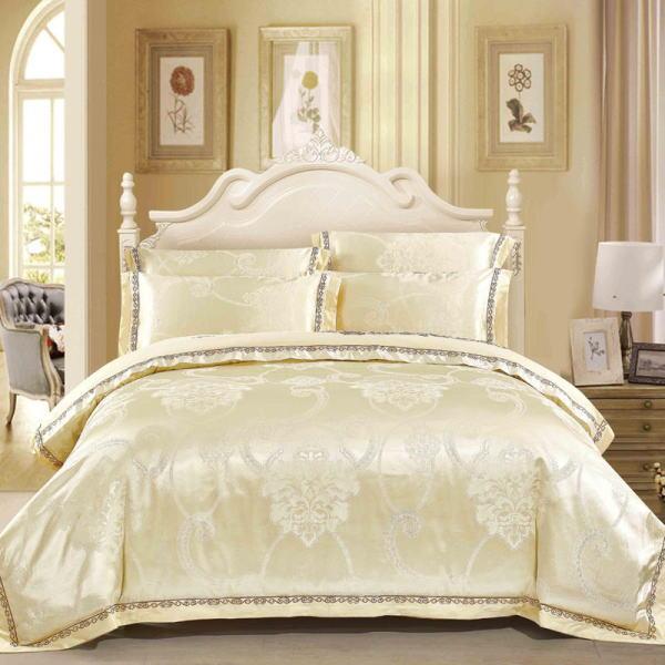 シルク100% 2014年新作 ベッドカバー4点(ツイン/3点)セット ユーロデザイン ジャガード豪華ゴールドカラーシルク寝具セット