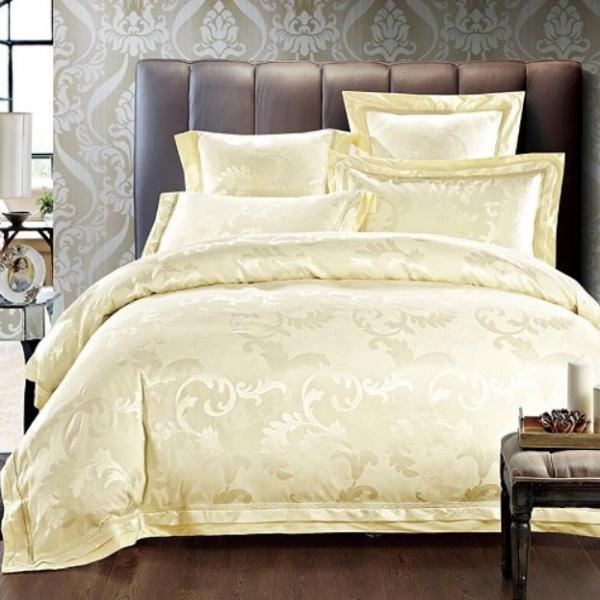 シルク調 コットンベッドカバー4点(シングル/3点)セット ユーロデザイン ジャガードゴールドカラー寝具セット