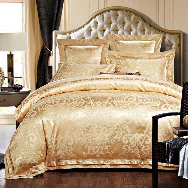 ピュアシルク100% ベッドカバー4点セット ユーロデザイン トジャガード豪華ゴールドカラー寝具セット