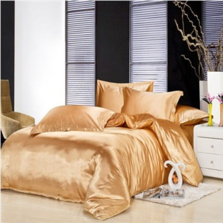 シルク調 ベッドカバー4(ツイン/3)点セット ユーロデザイン 高級ゴールドシルク ソリッドカラー