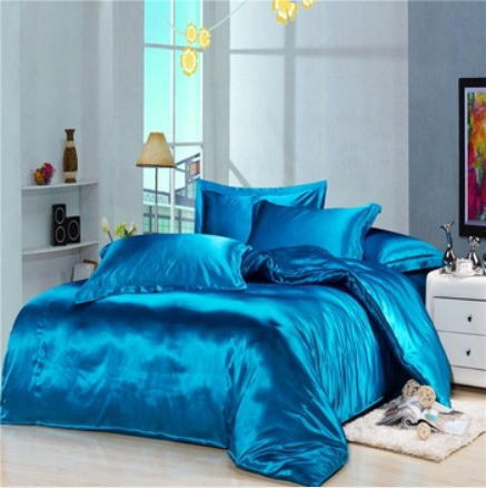 シルク調 ベッドカバー4(シングル/3)点セット ユーロデザイン 高級ブルーシルクサテン ソリッドカラー