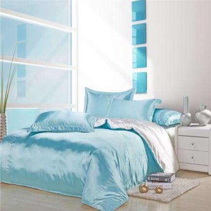シルク調 ベッドカバー4(ツイン/3)点セット ユーロデザイン 高級ブルーホワイトシルクサテン ソリッドカラー