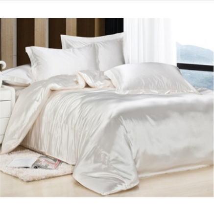 シルク調 ベッドカバー4(ツイン/3)点セット ユーロデザイン 高級ミルクホワイトシルクサテン ソリッドカラー