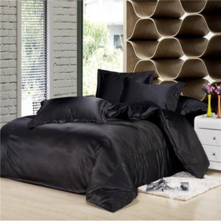 シルク調 ベッドカバー4(ツイン/3)点セット ユーロデザイン 高級ブラックシルク ソリッドカラー