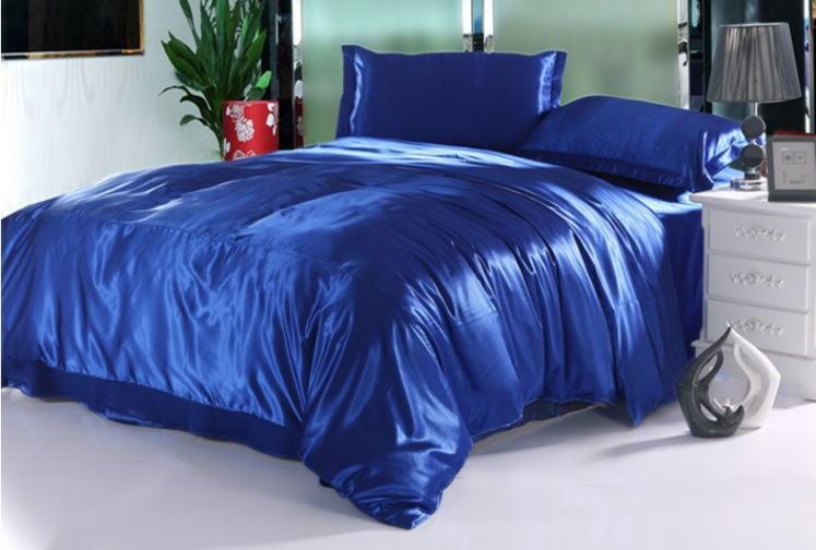 シルク調 ベッドカバー4(シングル/3)点セット ユーロデザイン 高級ロイヤルブルー ソリッドカラー