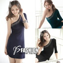 Studs decoration one-off shoulder A-line one piece