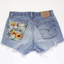 ☆☆ vintage remake bandana pocket denim panties UKR057G Levis custom denim short pants of one point