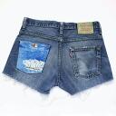 One ☆ ☆ vintage remake bandana Pocket denim shorts UKR057H Levis custom Jean shorts
