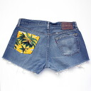 ☆☆ vintage remake bandana pocket denim panties UKR057I Levis custom denim short pants of one point