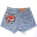 ☆☆ vintage remake bandana pocket denim panties UKR057J Levis custom denim short pants of one point