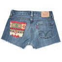 ☆☆ vintage remake bandana pocket denim short pants UKR057E Levis custom denim panties of one point