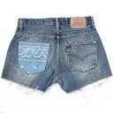 ☆☆ vintage remake bandana pocket denim short pants UKR057M show bread Levis of one point