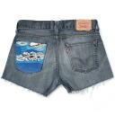☆☆ vintage remake bandana pocket denim short pants UKR057N show bread Levis of one point