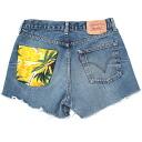 ☆☆ vintage remake bandana pocket denim short pants UKR057O show bread Levis of one point