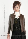 Leather コンパクトノーカラーフラップ pocket and Brown women's leather jacket