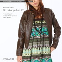 Womens ラムレザーギャザーノー jacket and Brown / small size / leather jackets and 3 / 5 No.