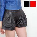 Design パンプキンパンツ / black / red leather miniskirt style leather shorts Womens / skirt / pleated / gathered / Chopin / pants