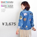 With patch denim jacket denim jacket and cotton/g Jean / cotton / remake / thrift /USED