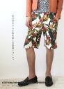 Cotton linen botanical print shorts men's natural grn015 shorts designs