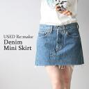 USED remake vintage denim a-line mini skirt UKR054 denim mini skirt DENIME skirt ska - g